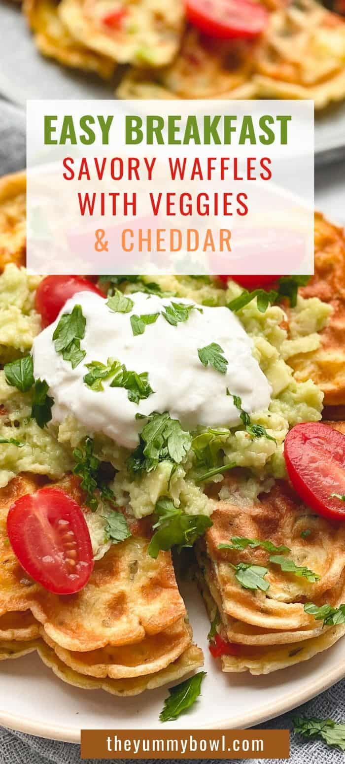 Savory waffles with cheddar and feta cheese - Waffle Omelet