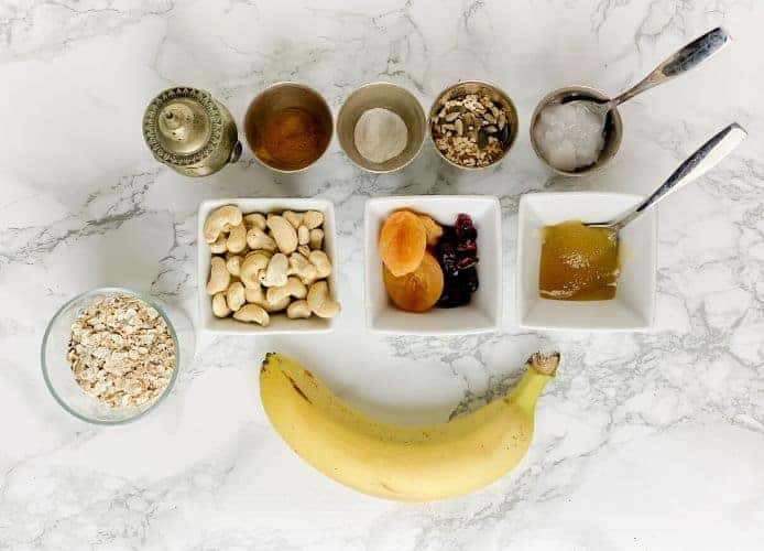 Homemade granola bars with banana are a mix of different fruit, seeds, and coconut oil. Chewy, nutty, and naturally sweetened with banana - a healthy speedy snack on the go.- The Yummy Bowl