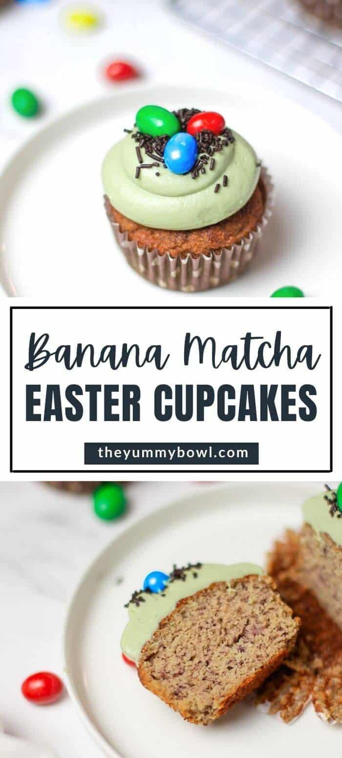 Banana Matcha Easter Cupcakes