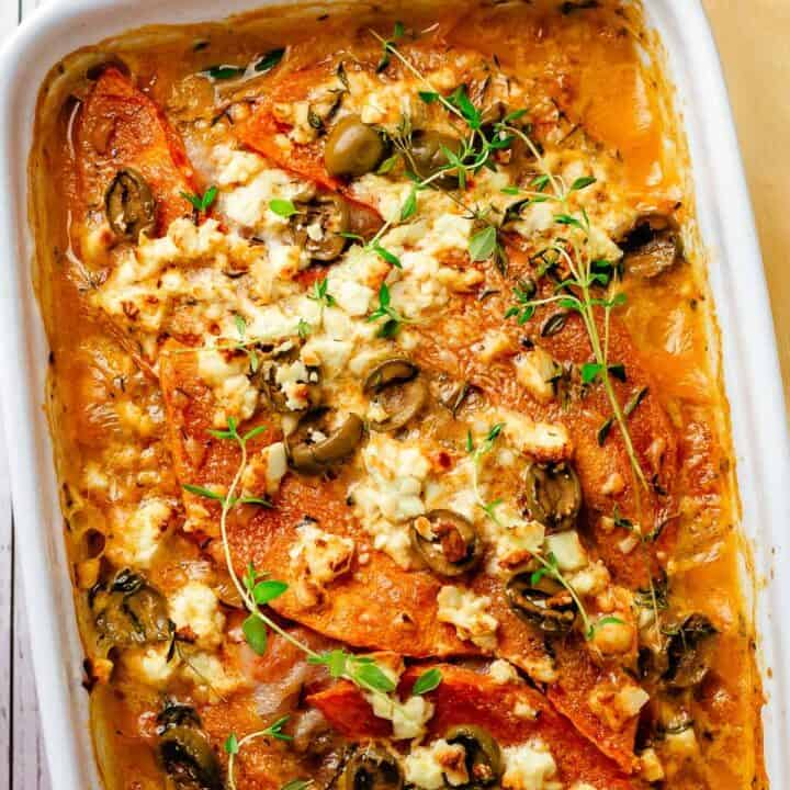Bacon Pumpkin Bake with olives, feta and thyme in coconut sauce