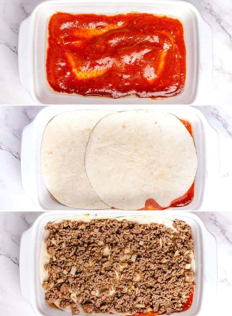 Beef Enchilada Casserole step by step