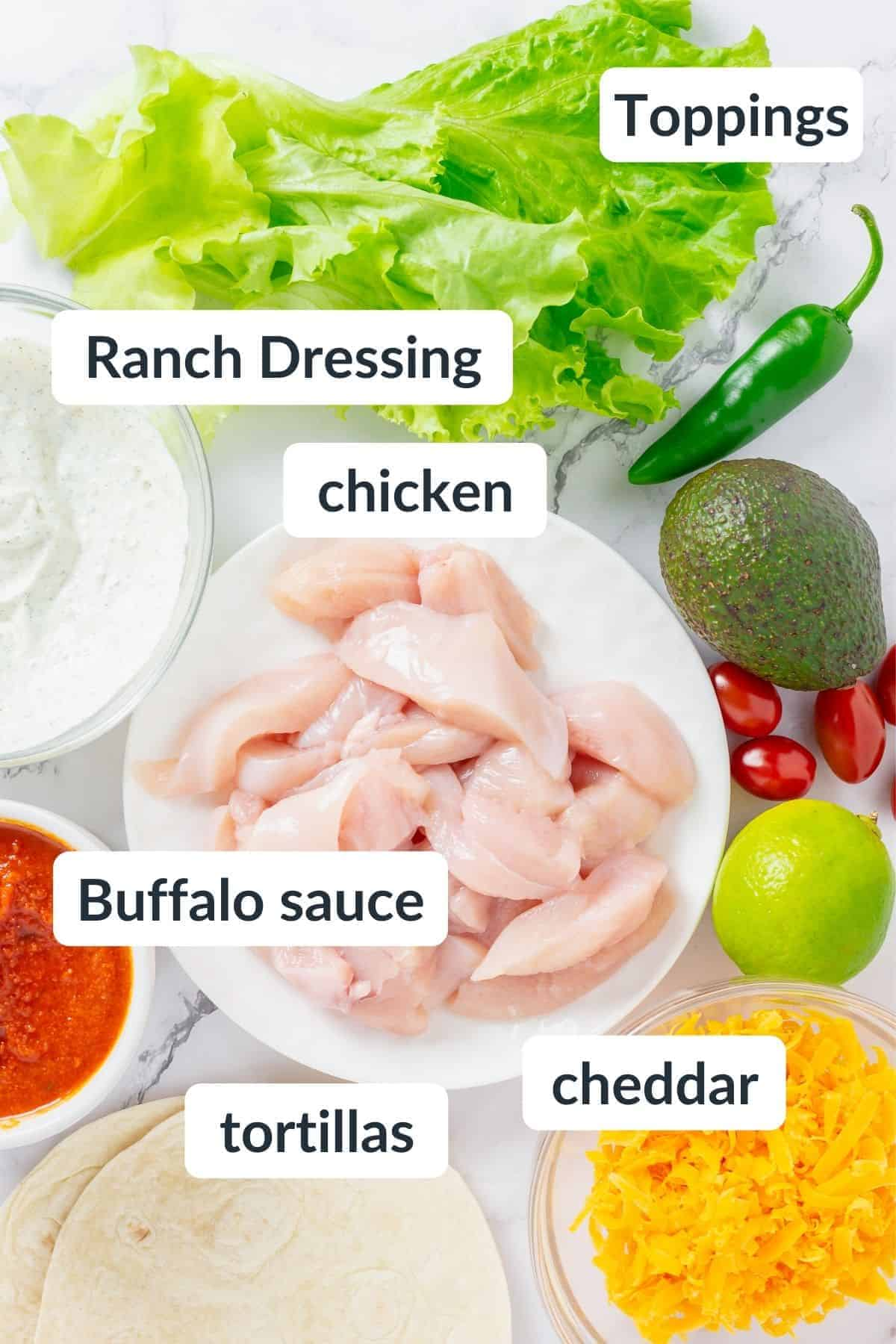 Chicken tostada ingredients