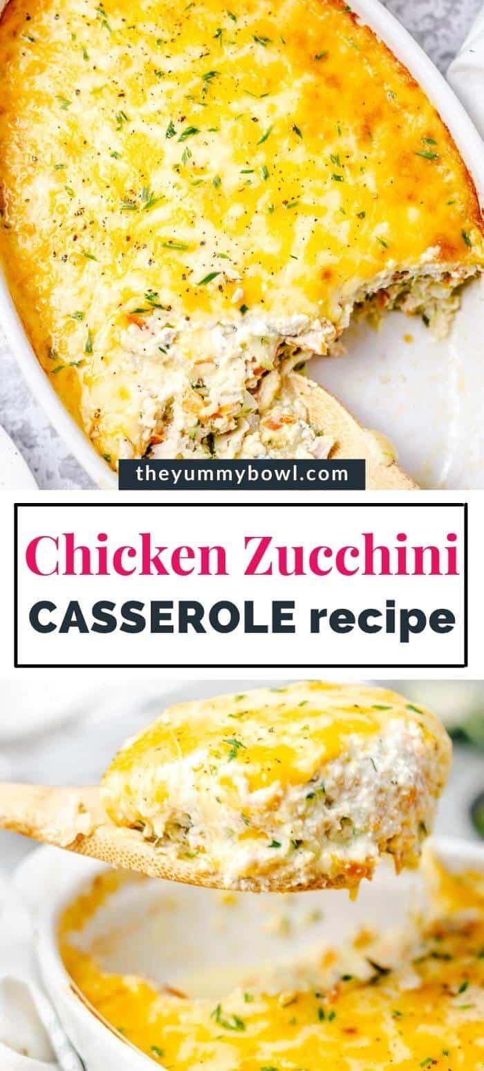 Chicken Zucchini Casserole in a white oval baking dish