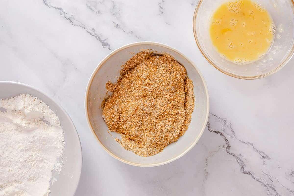 chicken breast coated in breadcrumbs