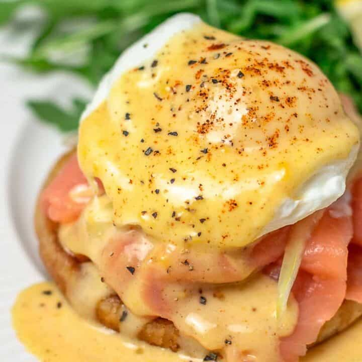 Salmon Avocado Eggs Benedict (Eggs Royale)