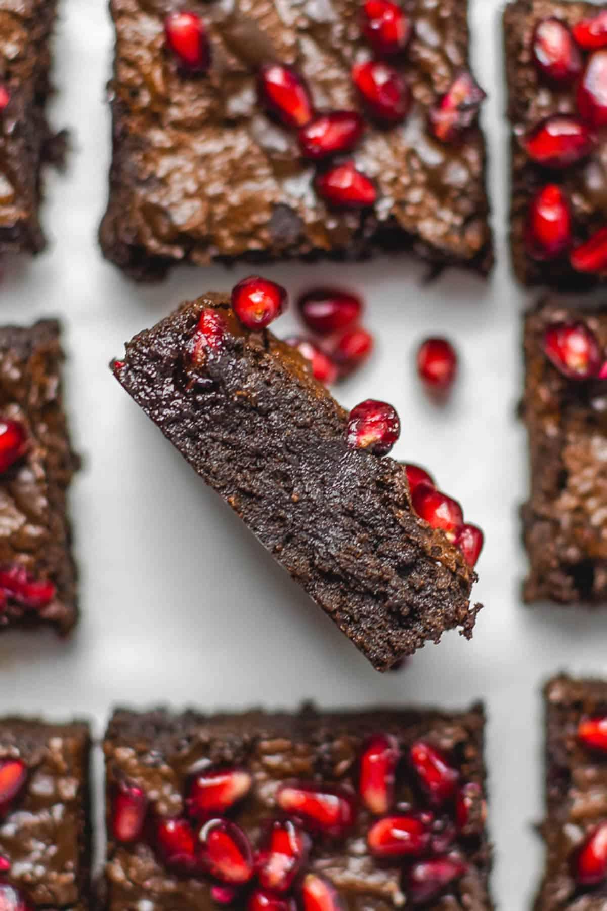 Vegan Fudgy Pomegranate Brownies