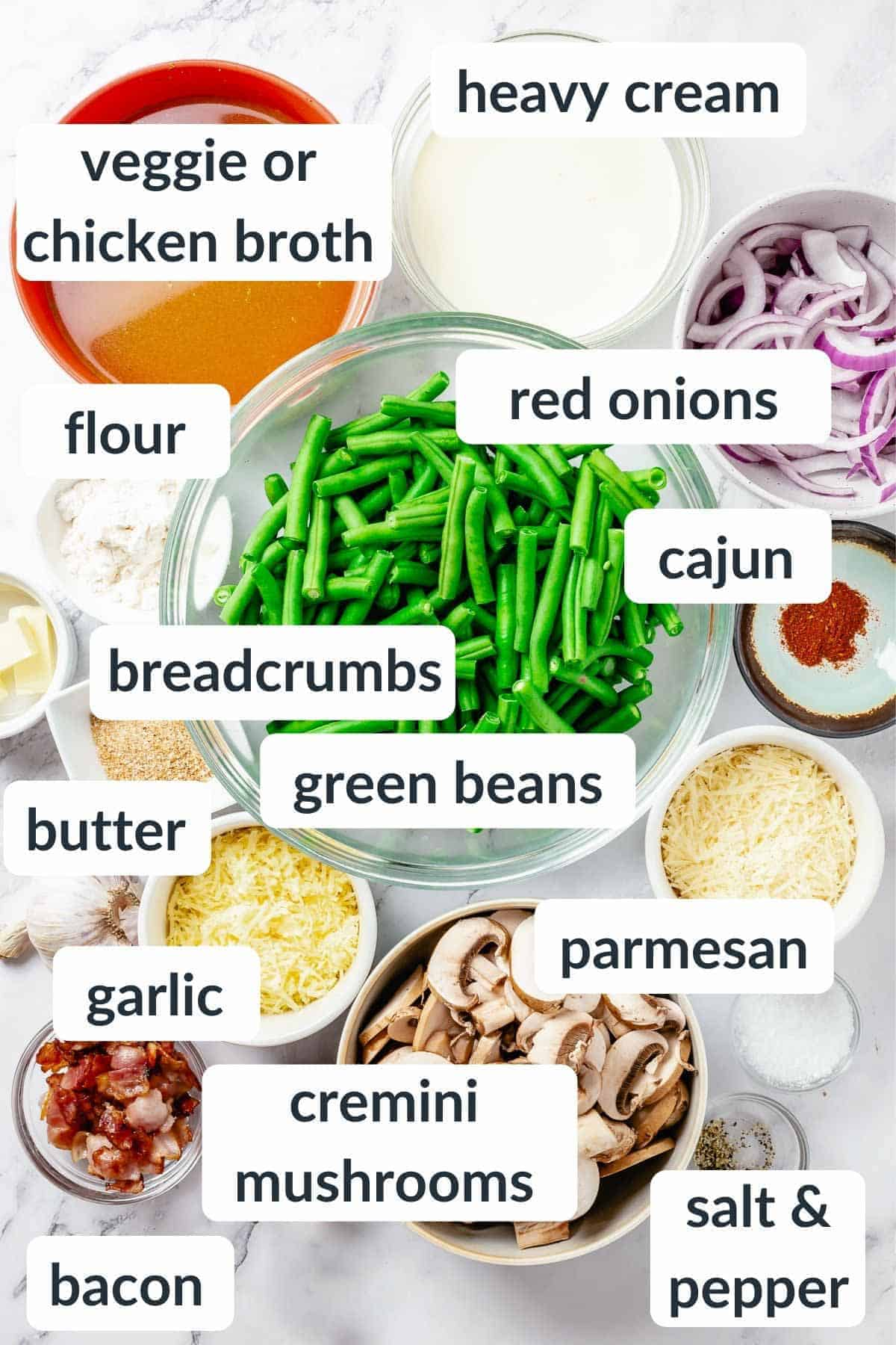 Overhead shot of ingredients for Green Bean Casserole