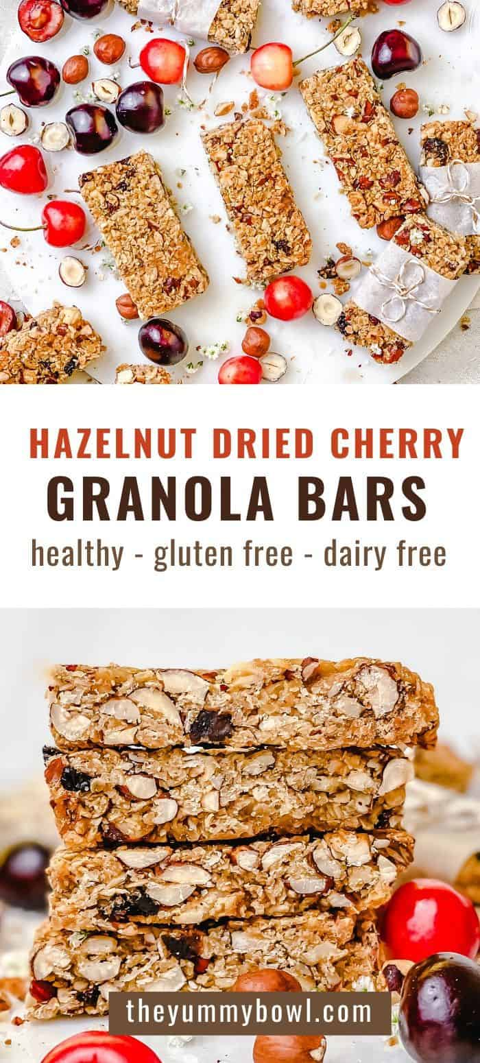 This Hazelnut Cherry Granola Bars recipe is made with wholesome, simple, healthy ingredients that are sure to be sitting in your kitchen pantry shelf and waiting for you to make these delicious snacks. These granola bars are dairy free, gluten free, so tasty and fun to make. - The Yummy Bowl