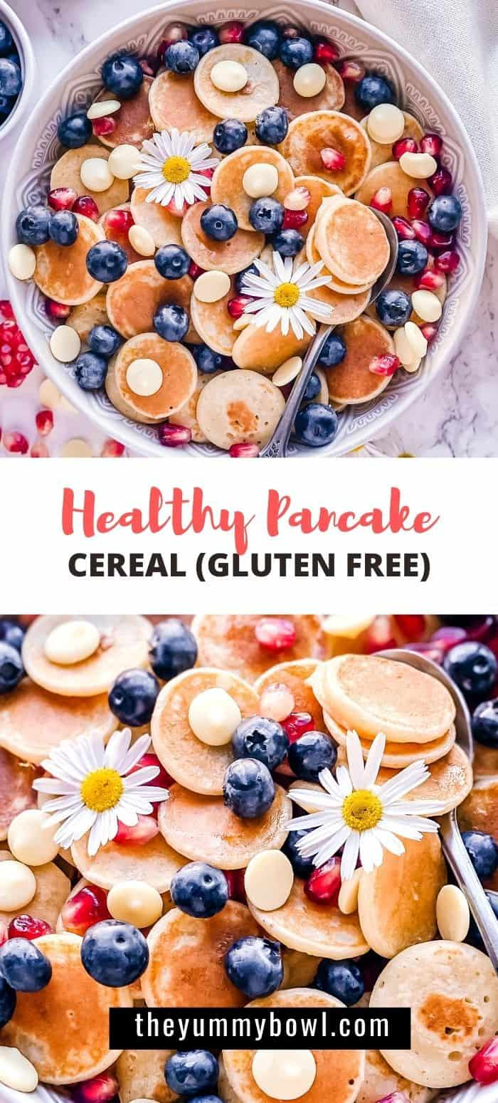 This Healthy Pancake Cereal recipe is perfect to start your day with a bowl of cute and fluffy pancakes - but just in a mini version! Treat yourself for a beautiful breakfast that is healthy too! #healthypancakecereal #pancakecerealglutenfree #pancakecereal #minipancakes #glutenfreepancakes  - The Yummy Bowl