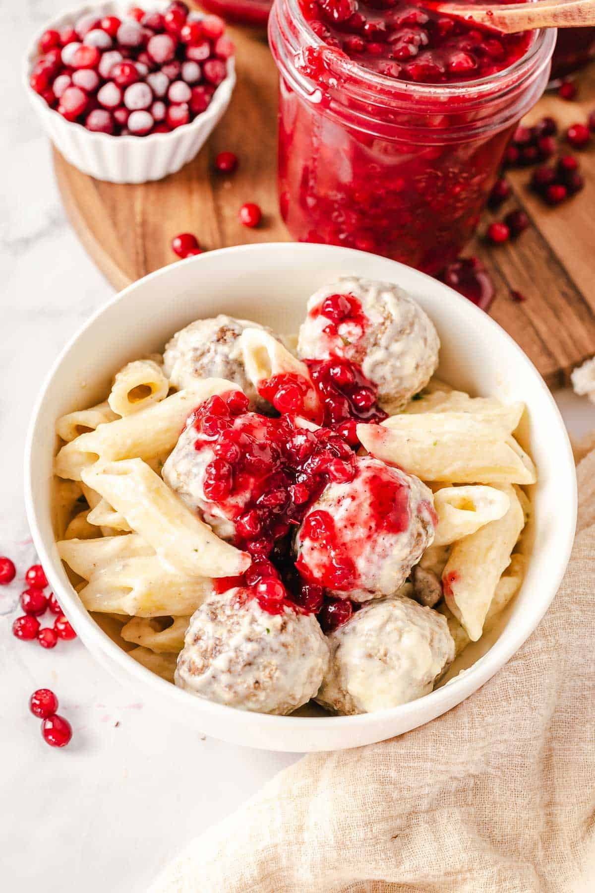 ikea meatballs with pasta and lingonberry sauce