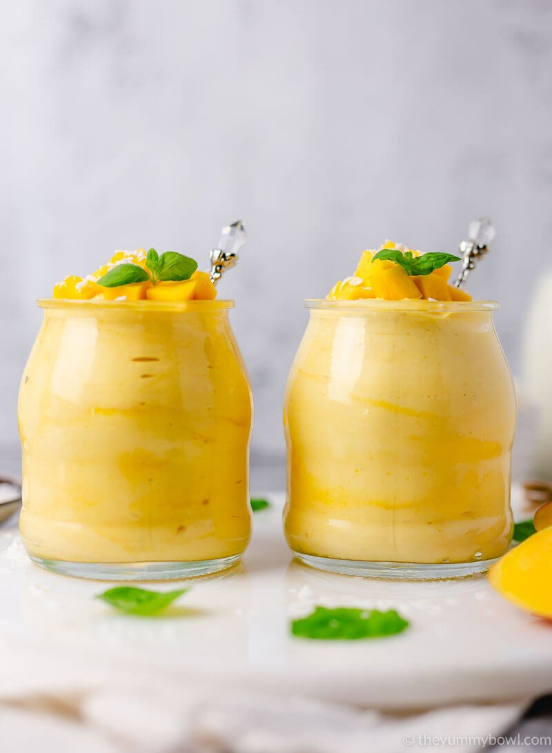 mango mousse in a glass