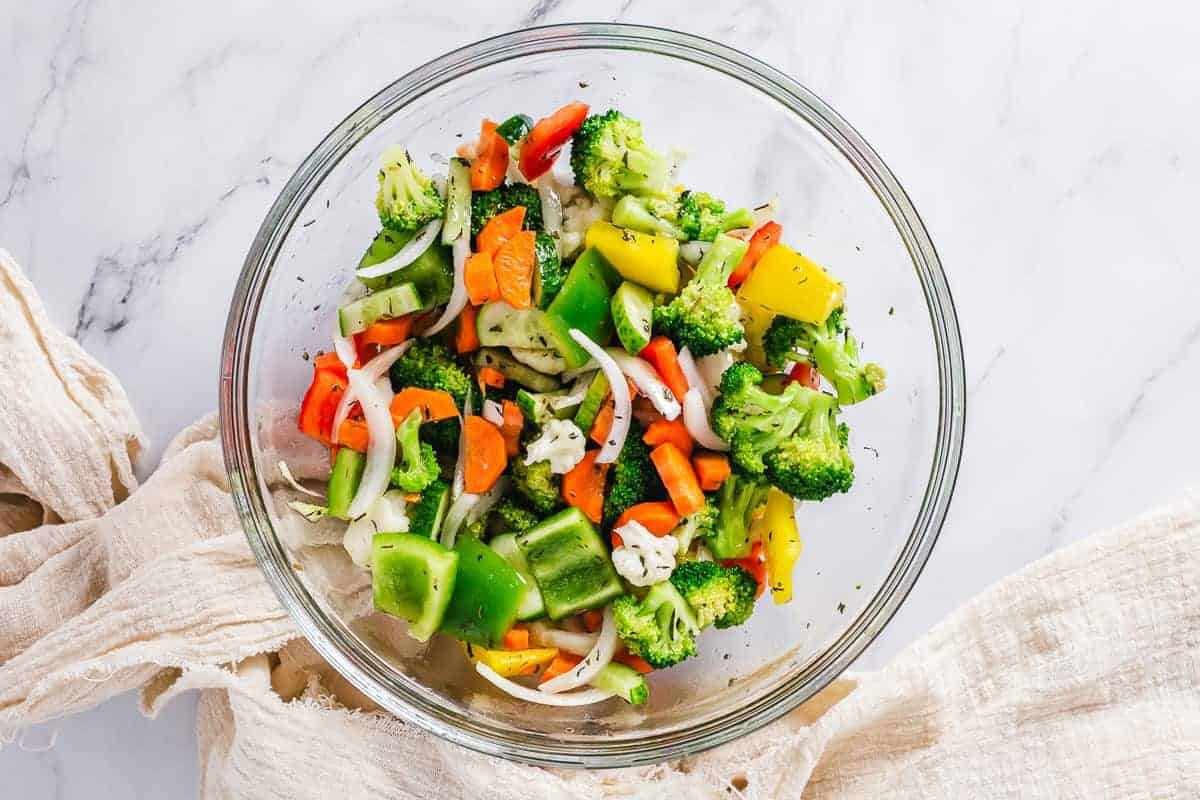 Vegetables marinating in a bowl