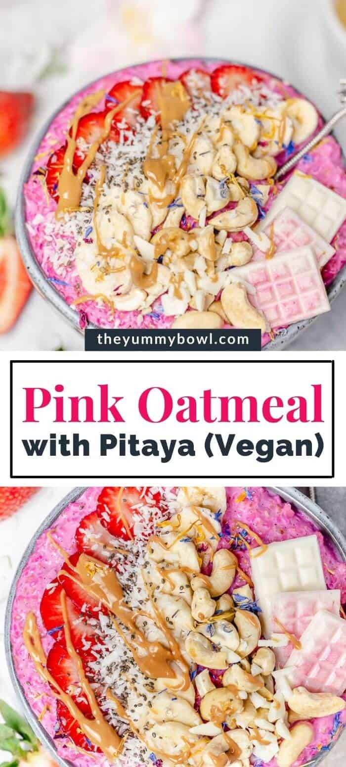 pink oatmeal porridge in a grey bowl with toppings