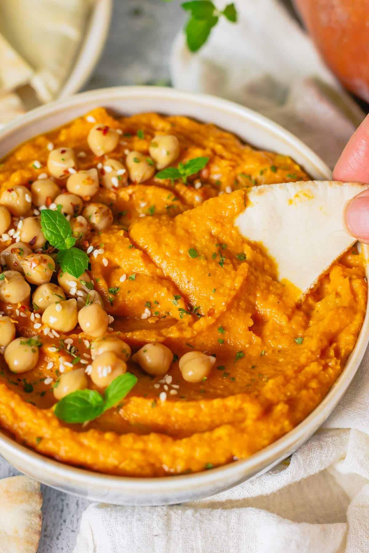 pumpkin hummus pita bread dip shot