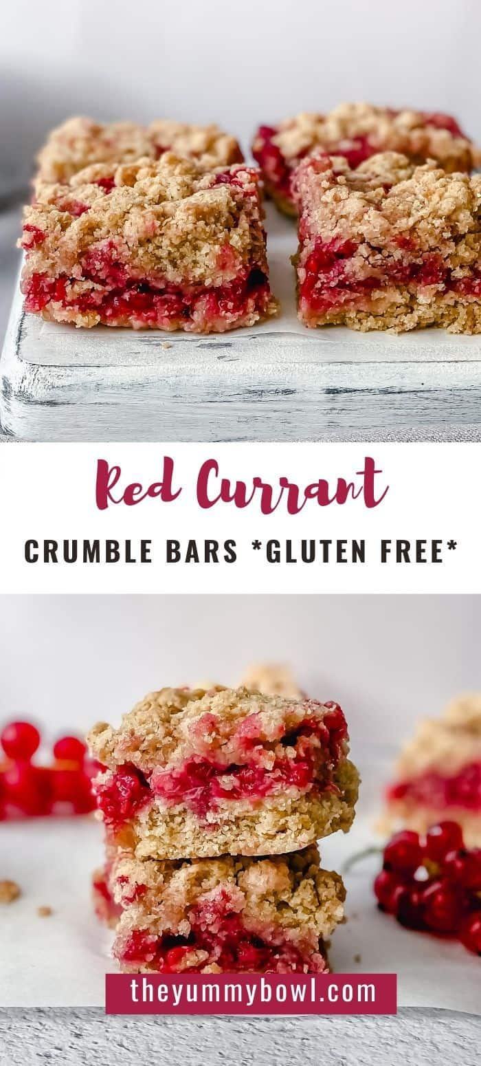 These Red Currant Crumble Bars are gluten free, super easy summer berry recipe that you can whip up in only few minutes. Serve them for dessert, breakfast or enjoy as a delicious snack during the day.#redcurrantsrecipes #redcurrantrecipe #redcurrantcrumble #redcurrantcrumblebars #redcurrantsquares - The Yummy Bowl