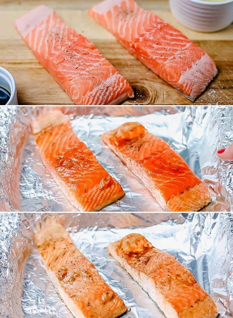 salmon fillets on a parchment paper coated in marinade