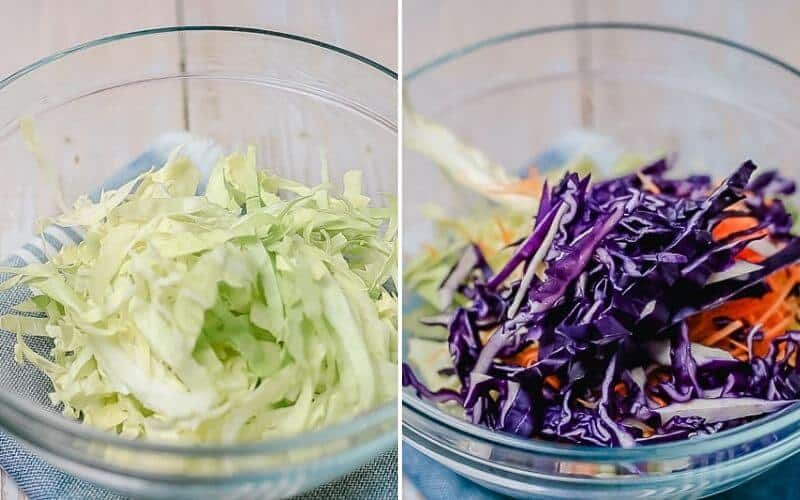 shredded green and red cabbage in a glass bowl