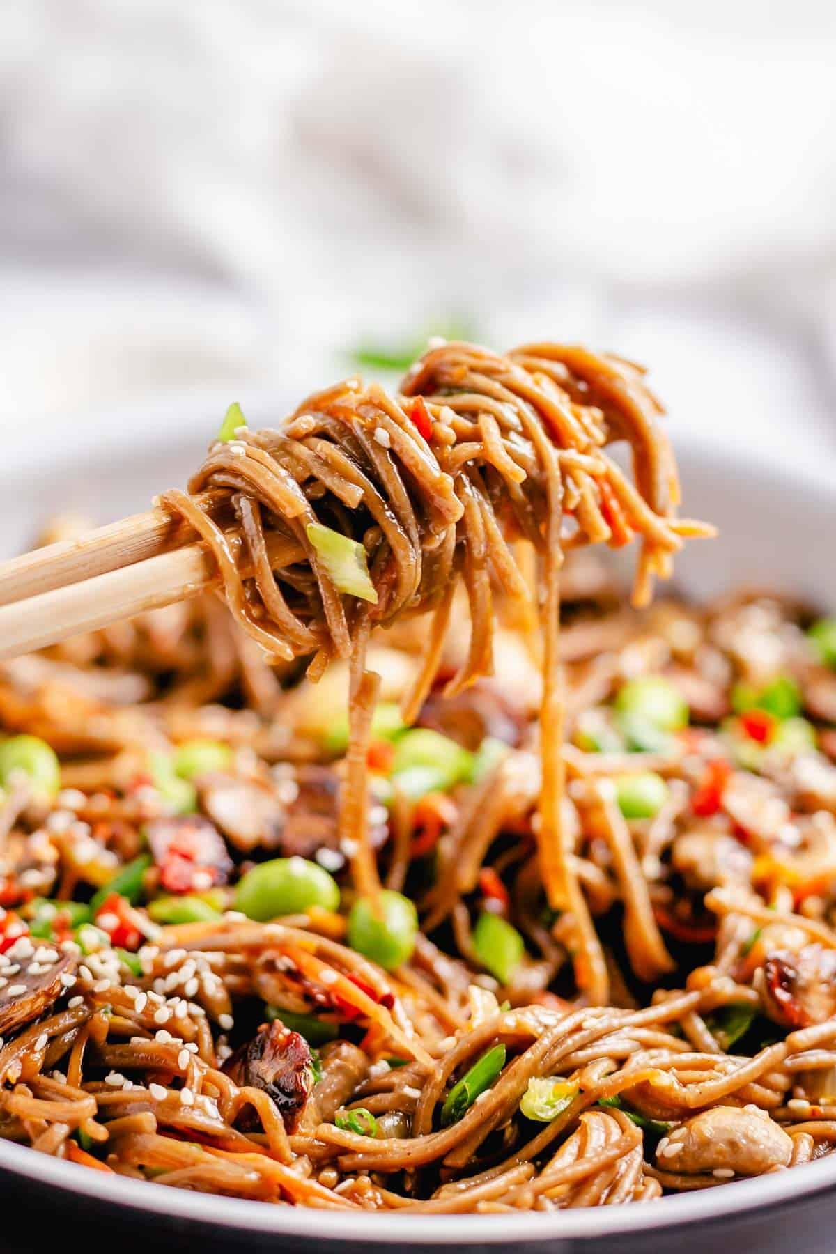 Soba Noodles stir fry close up shot on chopsticks