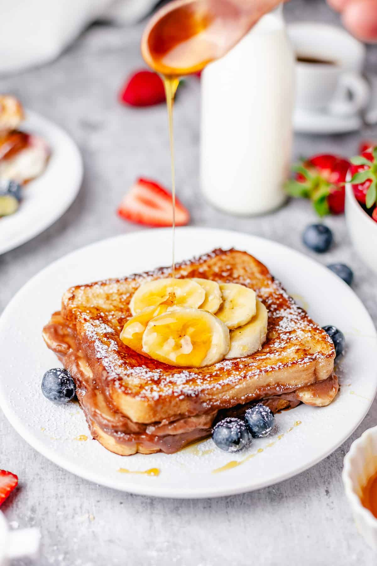 nutella french toast stuffed with banana nutella cream cheese