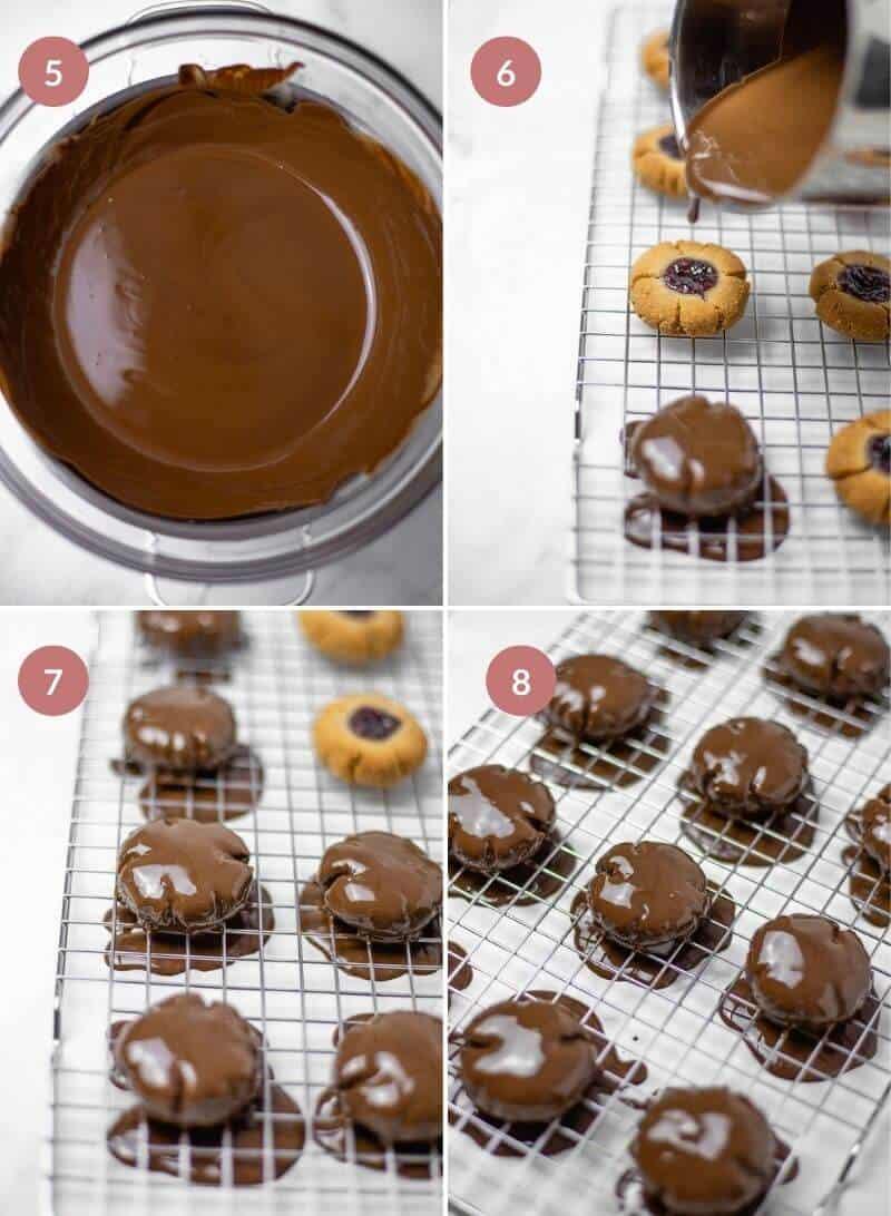 Thumbprint Cookies with Jam and Chocolate (Vegan, Gluten-free, Dairy-Free)