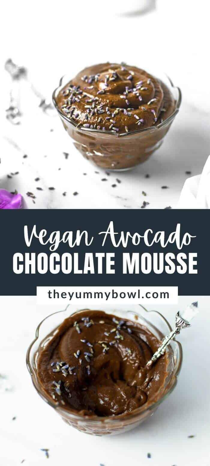 Vegan Avocado Chocolate Mousse with Lavender