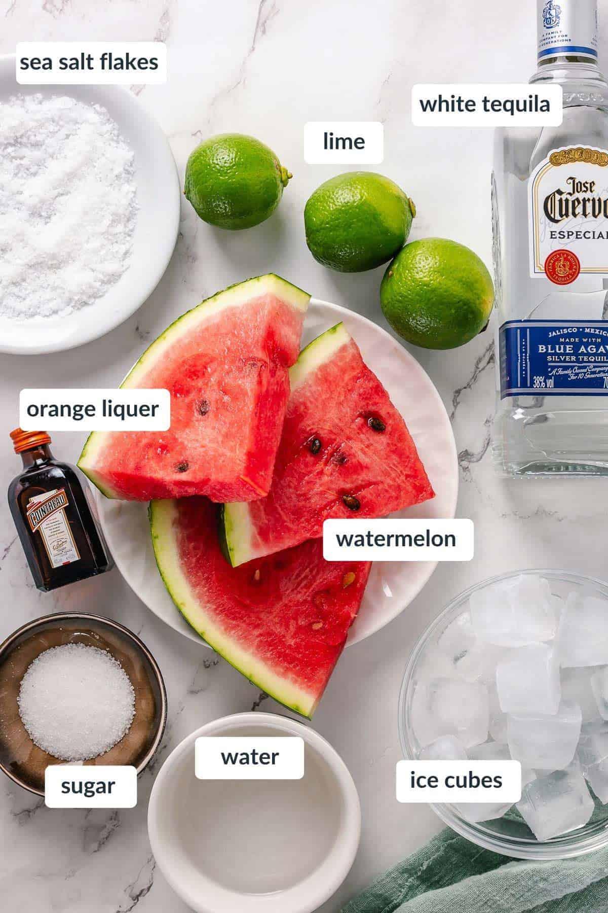 Skinny Watermelon Margarita ingredients flat lay shot