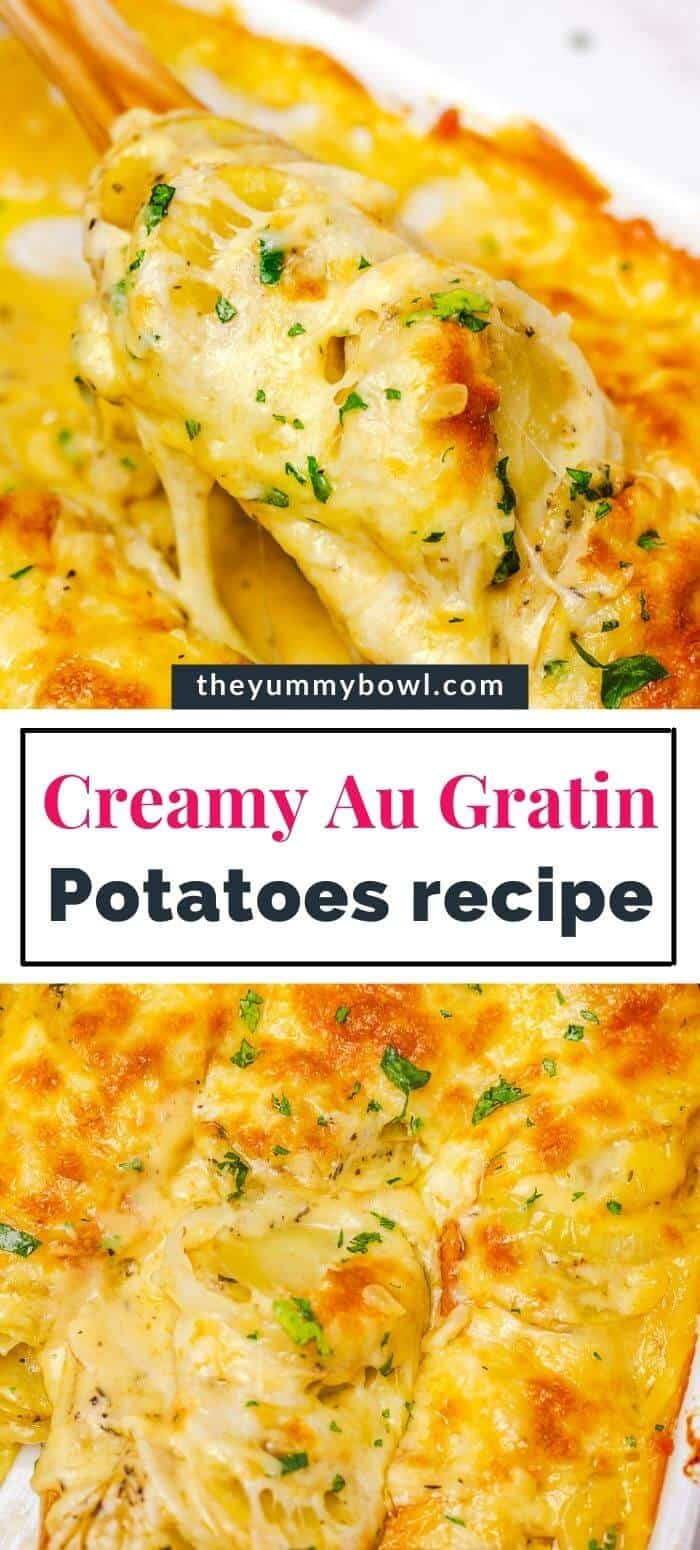 cheesy and creamy potato au gratin in a white rectangular baking dish