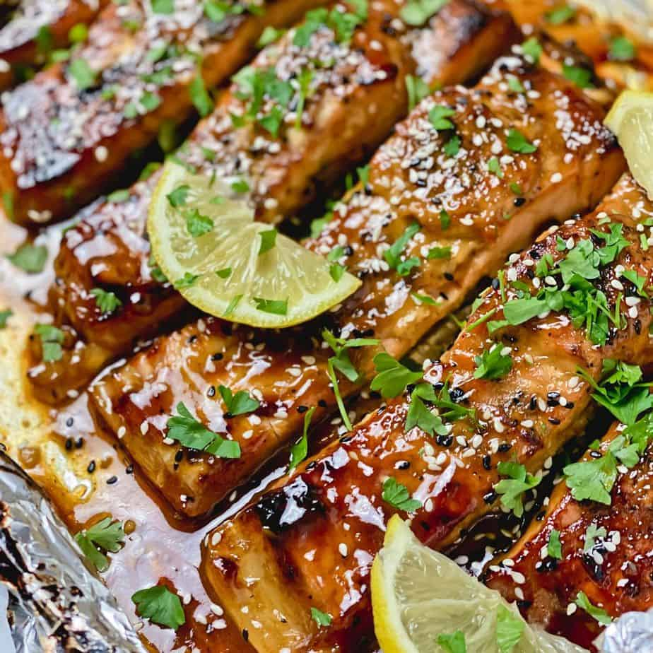 Baked Trout In Honey Mustard and Soy Sauce Glaze - The Yummy Bowl