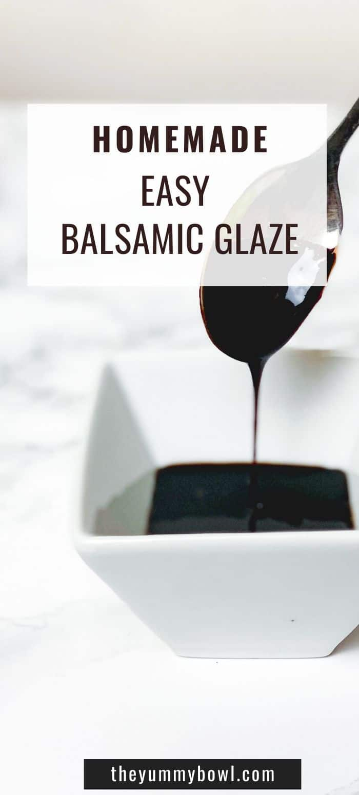 Homemade balsamic glaze - the world's easiest dressing/sauce that only uses 2 ingredients (or even just one if you like! #balsamicglaze #balsamicvinegar #homemade #dressing #homemadesauce #reduction #balsamicreduction #salads #saladdressing- The Yummy bowl