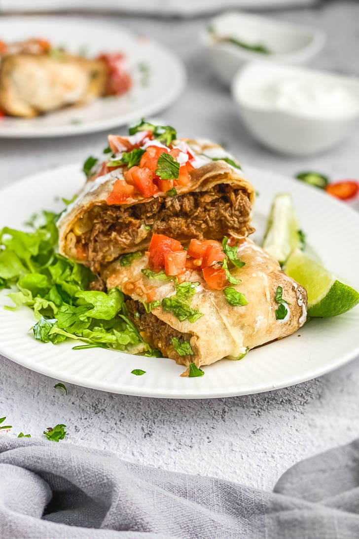 Shredded Beef Chimichangas (Baked)-The Yummy Bowl