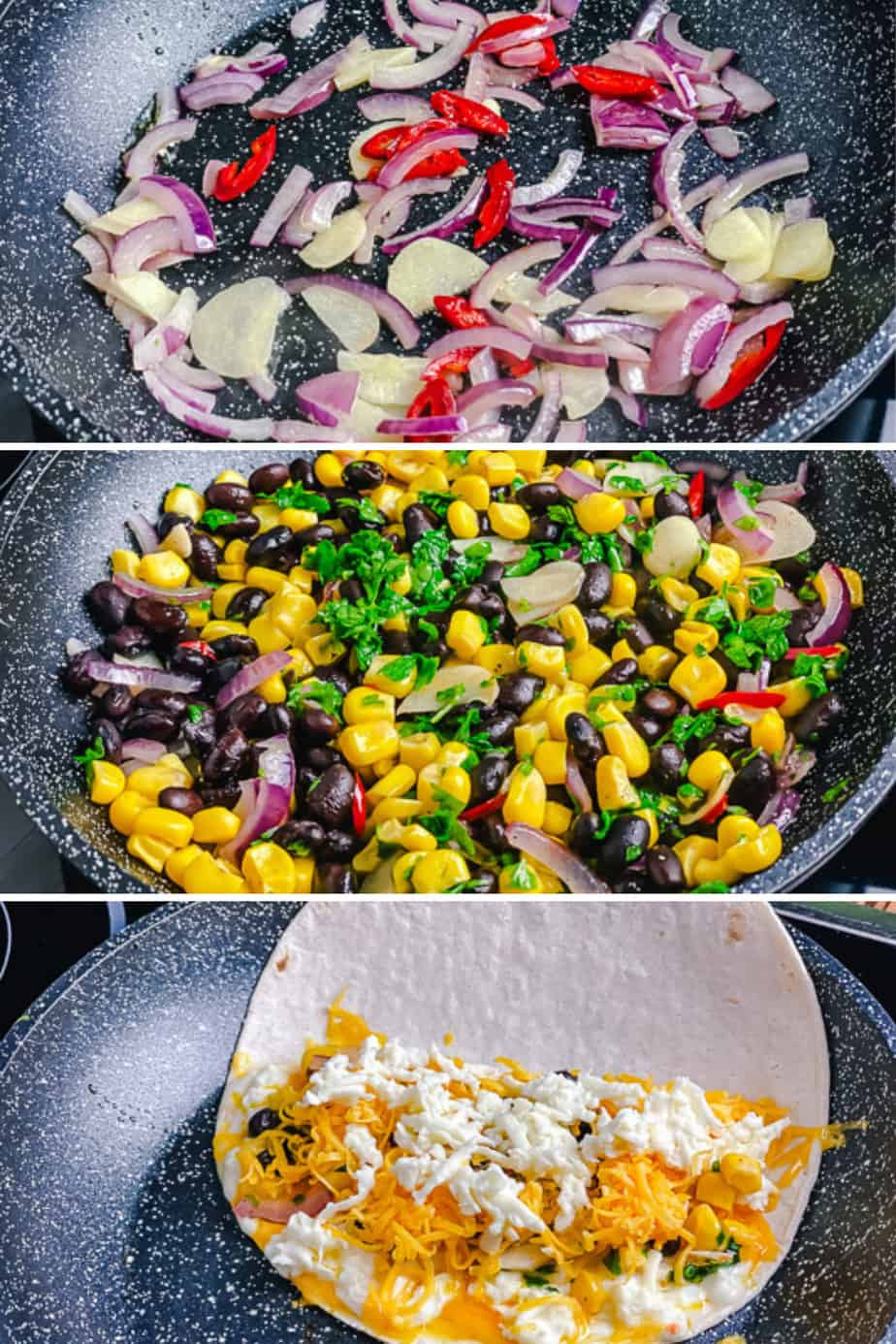 These Mexican Quesadillas are loaded with black beans, sweet corn, and two kinds of gooey melted cheese. Soft tortillas are then lightly toasted on a skillet until crisp. You'll love this recipe as they make a great hearty lunch or easy dinner in just under 30 minutes.
