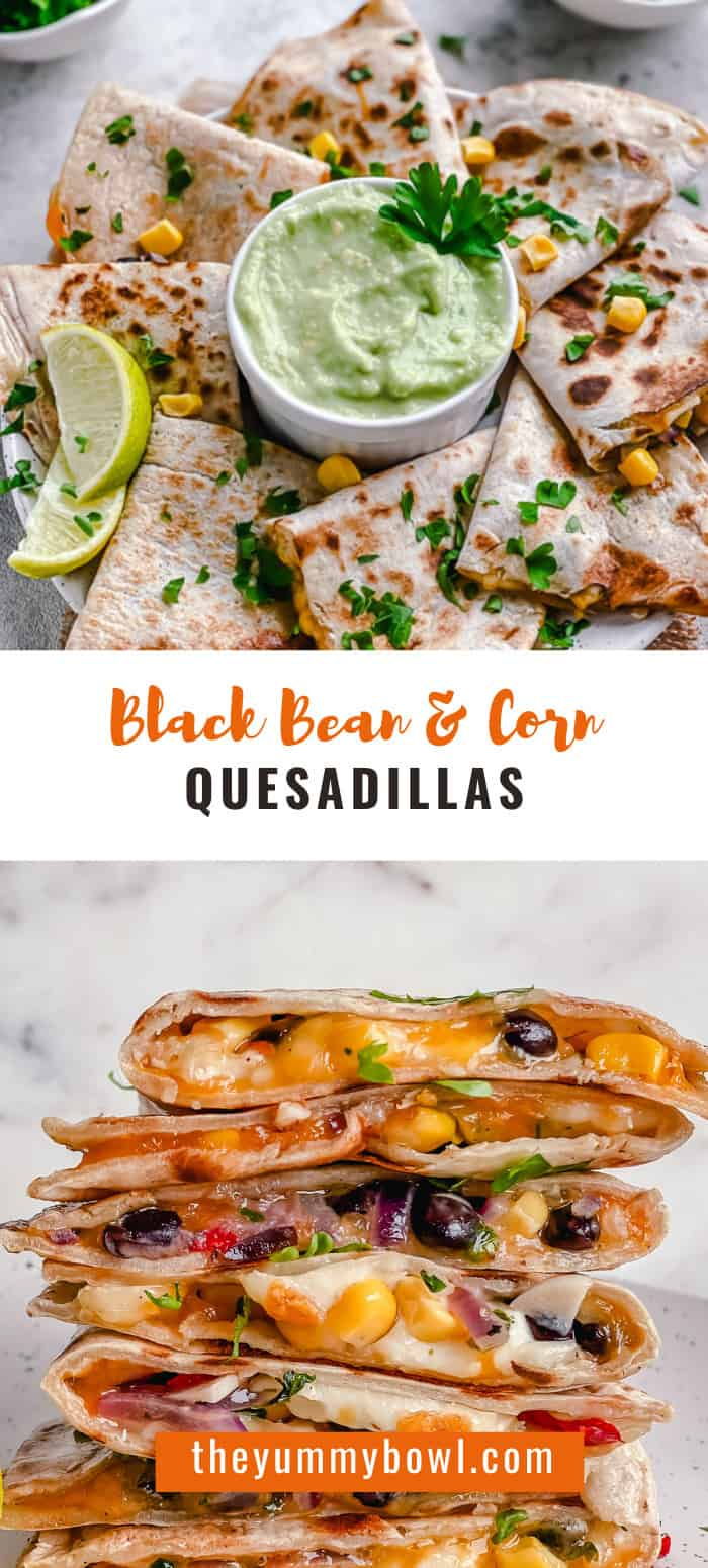 These Mexican Quesadillas are loaded with black beans, sweet corn, and two kinds of gooey melted cheese. Soft tortillas are then lightly toasted on a skillet until crisp. You'll love this recipe as they make a great hearty lunch or easy dinner in just under 30 minutes. #blackbeanquesadillaglutenfree #glutenfreequesadilla #veganquesadilla #corntortilla #cornquesadilla #quesadillarecipeeasy  #quesadillavegetarian #easycheesequesadillarecipes - The Yummy Bowl