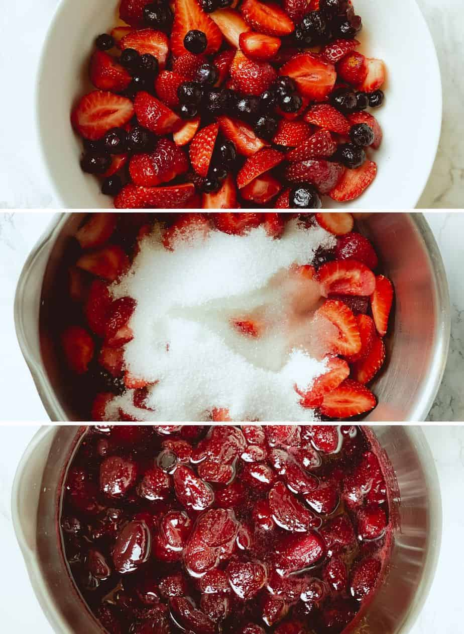 This homemade strawberry sauce is only 5 ingredients, and is the perfect berry topping to go on ice cream, cheesecake, pancakes, waffles, yogurt, biscuits and more!