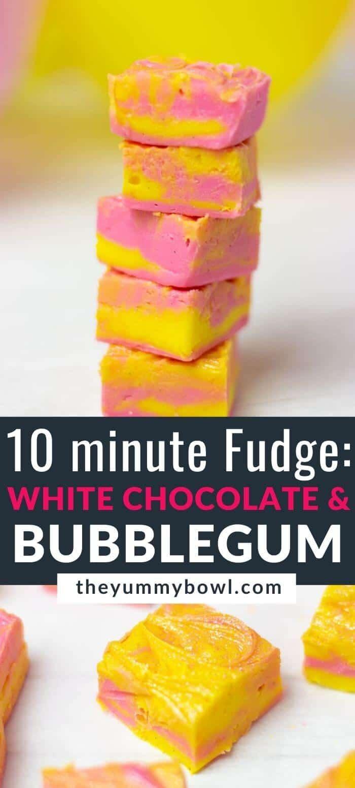 10 minute White Chocolate Bubblegum Fudge