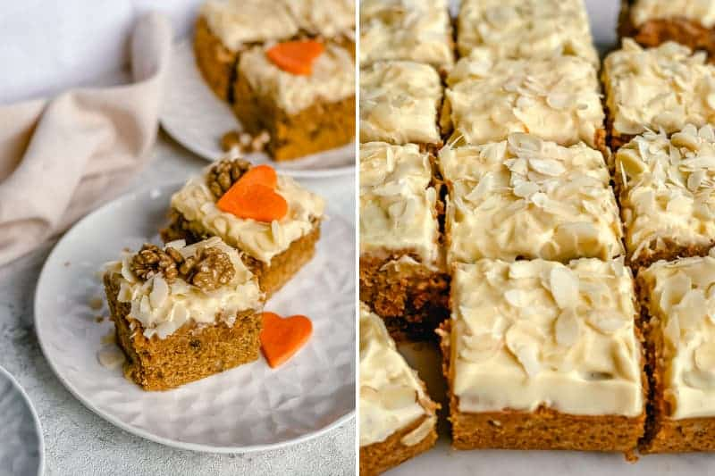 You'll love this carrot cake recipe with carrot cream cheese frosting that is so light and full of fall flavors. It's easy to make and is Gluten Free. You can easily whip up this cake in minutes, no mixer needed.#carrotcakeglutenfree #glutenfreecarrotcake #carrotcakerecipe #carrotcakehomemade #easycarrotcakeglutenfree #easycarrotcake