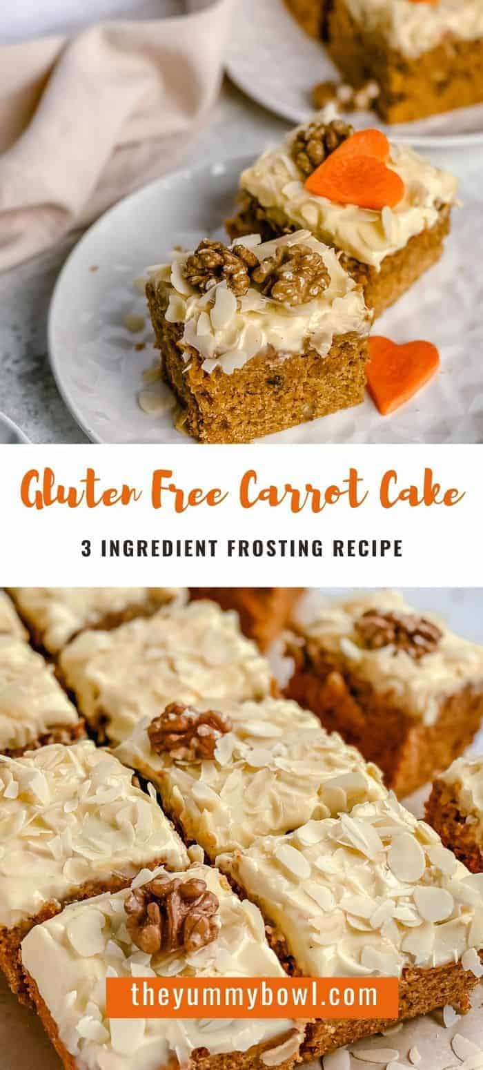You'll love this carrot cake recipe with 3 ingredient carrot cream cheese frosting that is so light and full of fall flavors. It's easy to make and is Gluten Free. You can easily whip up this cake in minutes, no mixer needed.#carrotcakeglutenfree #glutenfreecarrotcake #carrotcakerecipe #carrotcakehomemade #easycarrotcakeglutenfree #easycarrotcake