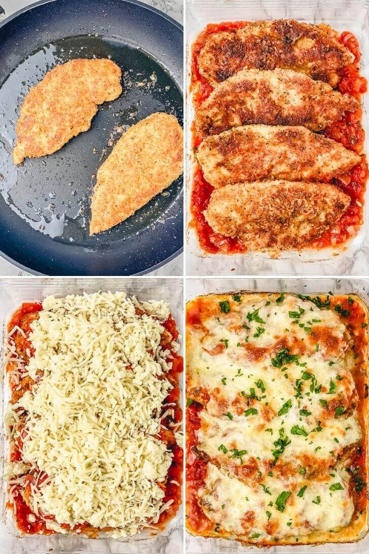 The best easy chicken recipe you'll ever try! This chicken parmesan is made with a flavorful crispy coating and baked with homemade marinara sauce and plenty of cheese before served over spaghetti or zucchini noodles. #bakedchickenparmesan #crispychickenparmesan #glutenfreechickenparmesan #ovenbakedchickenparmesan