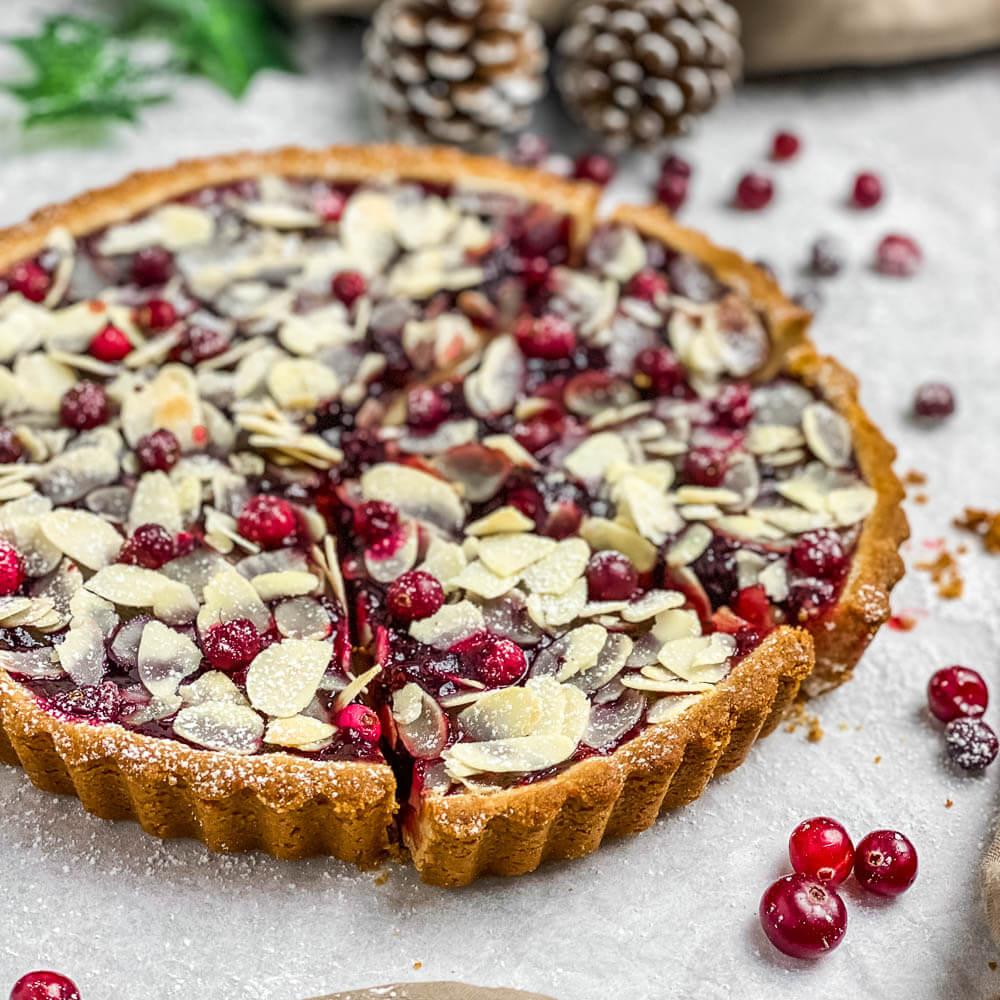 Almond Cranberry Tart (Gluten-Free, Vegan, Dairy-Free)