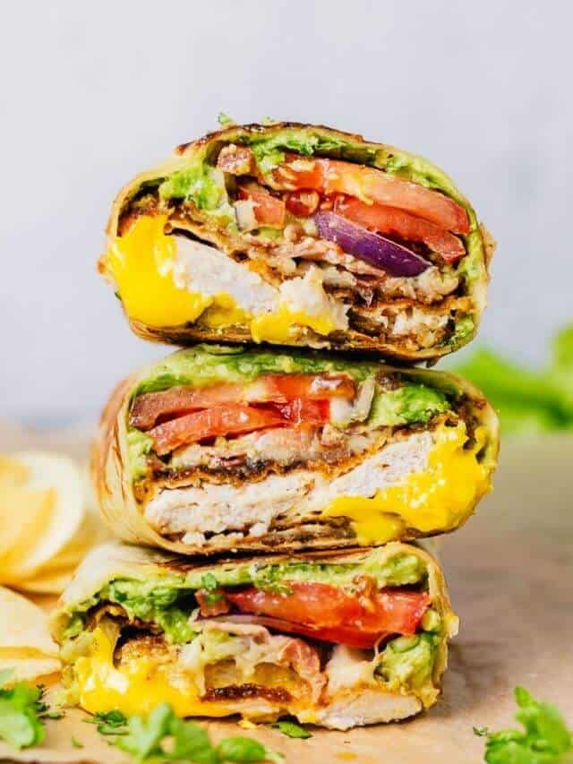 stacked chicken wraps