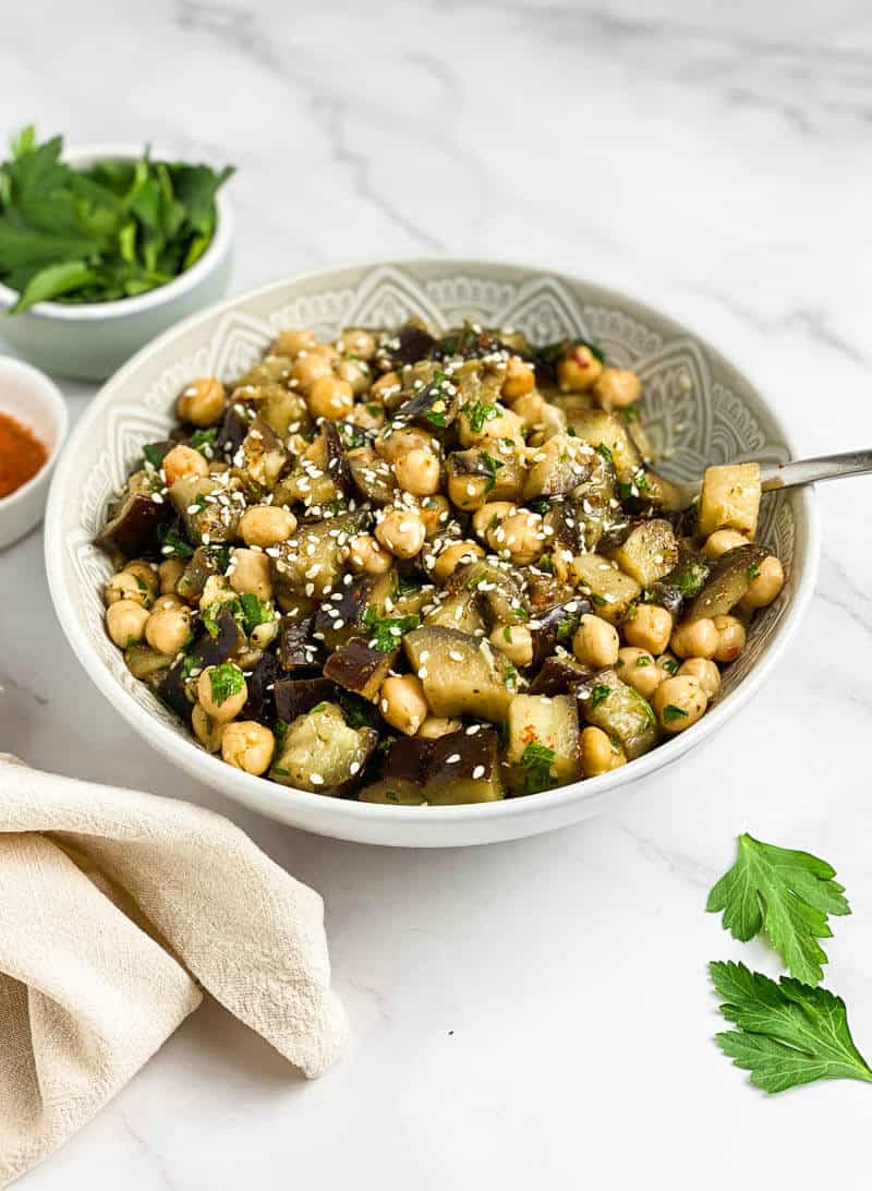 Eggplant Chickpea Salad