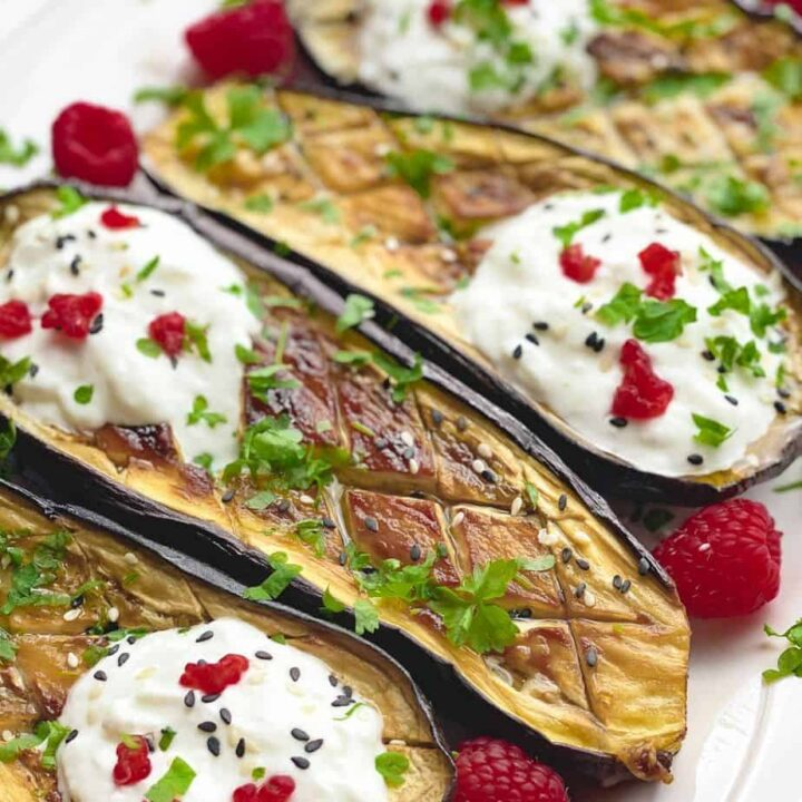 This is a very quick and easy eggplant recipe for busy weeknight dinner or enjoyed as a side dish on your table. The combination of eggplant with goat cheese, yogurt and raspberries is impeccable and brings out all the juicy meaty eggplant flavors. Perfect for vegetarians! - The Yummy Bowl