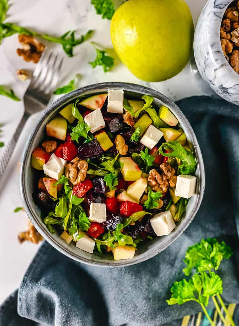 Roasted Beetroot and Feta Salad with Walnuts - The Yummy Bowl