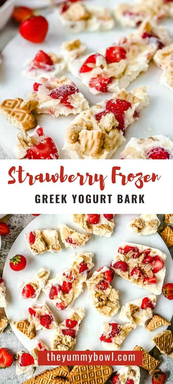 Frozen yogurt bark is a healthy snack on it's own, add some strawberries, cookies and almond flakes and it becomes a tasty dessert. It takes 5 minutes to make, 5 ingredients and it's a great after school snack for kids and adults alike! - The Yummy Bowl