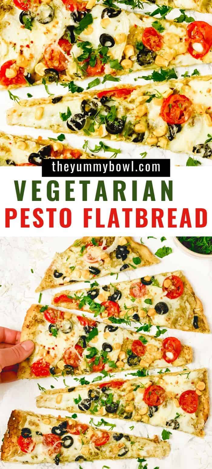 This Easy Basil Pesto Flatbread is very easy to make and has all the best ingredients - cherry tomatoes, onion, corn, olives, garlic oil, spinach leaves, mozzarella. This flavorful flatbread with roasted tomatoes will be the highlight of your dinner and will be gone from the table in seconds - The Yummy Bowl