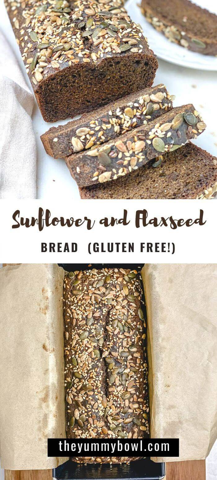 This Sunflower and Flaxseed Bread is a tender, moist, fiber-rich loaf that is packed with flaxseeds, sunflower, chia, and cumin seeds. This easy to make quick bread is perfect for breakfast, a mid-morning snack, or your favorite toasts spread. #sunflowerbreadrecipe #flaxseedbreadrecipe #veganbreadrecipe #glutenfreebreadrecipe #nokneadbread #flaxbread #sunflowerflaxbread