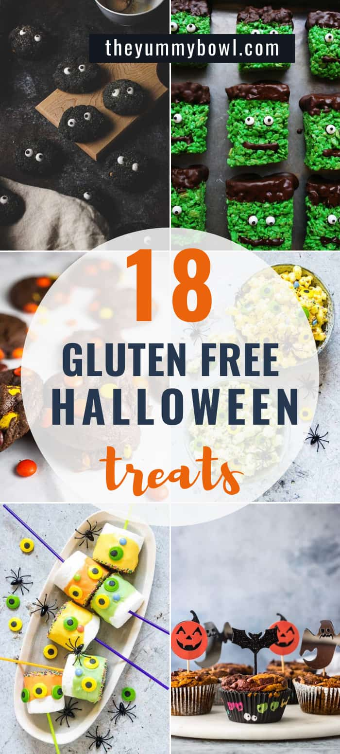 This spooky collection of delicious Gluten Free Halloween Treats and Dessert Recipes will please even the pickiest of palates! #glutenfreehalloweentreats #easyhalloweentreats #halloweentreatsroundup #halloweenroundup #halloween #healthyhalloweentreats #halloweentreatsideas #halloweentreatsgoodybags #kidsgoodybags #spookyhalloweentreats - The Yummy Bowl