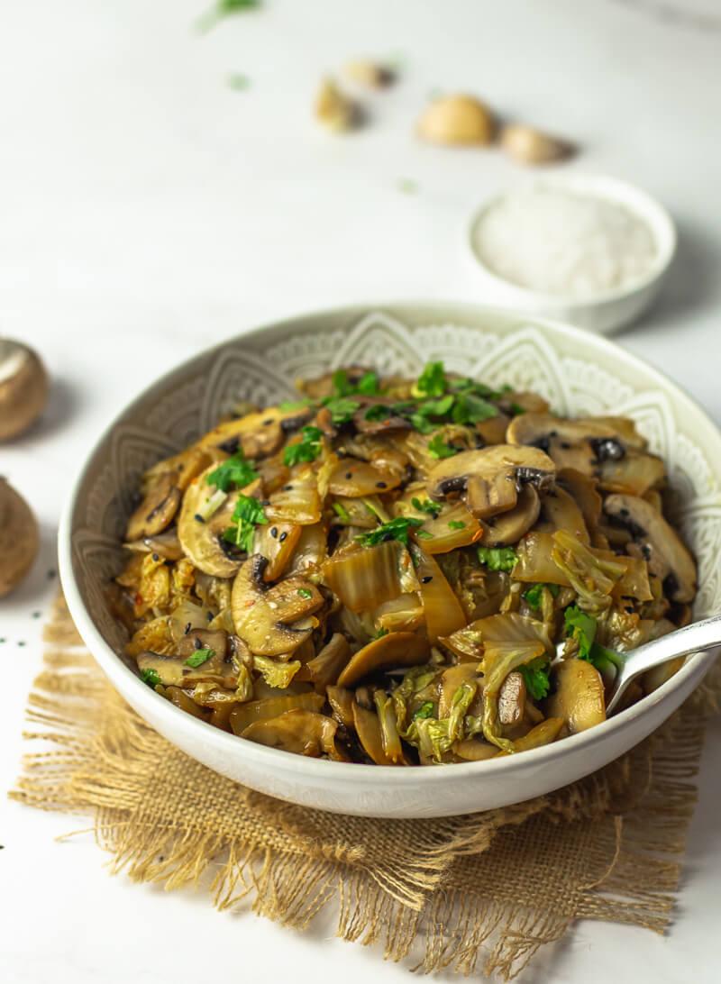 Napa Cabbage And Mushrooms Stir Fry