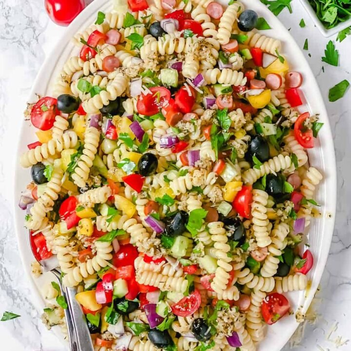 Cold Pasta Salad With Smoked Sausage-The Yummy Bowl