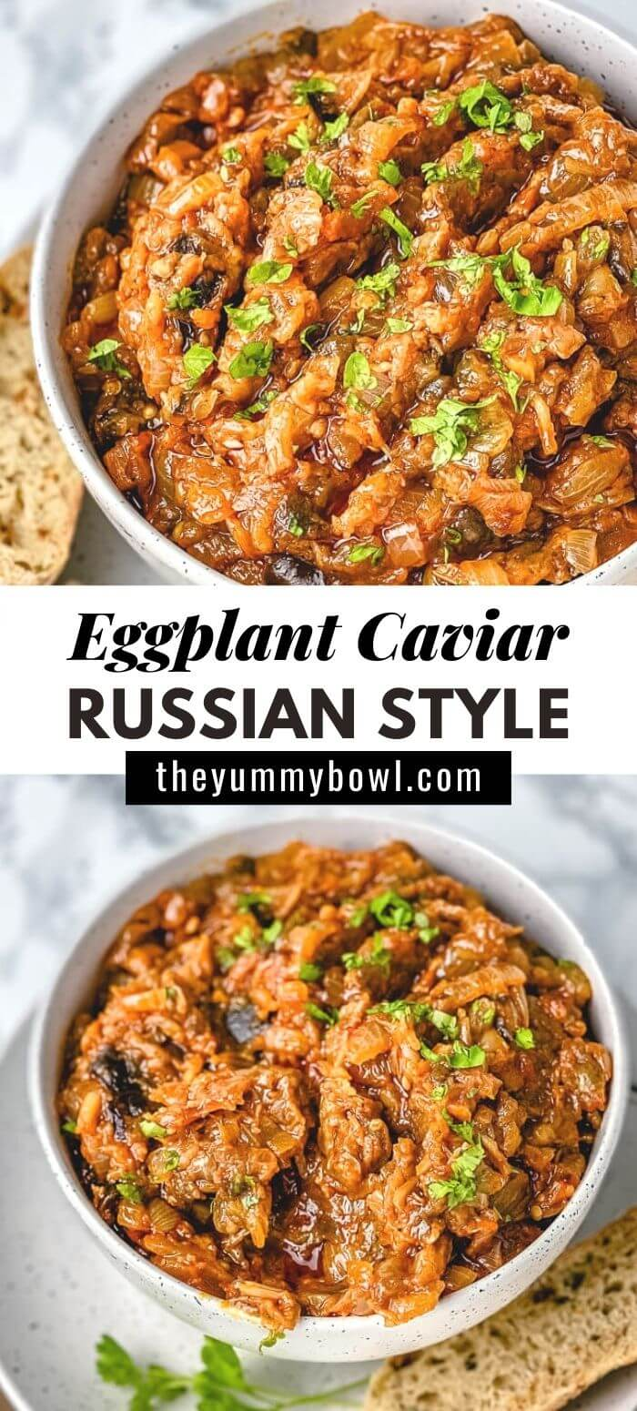 Terrific smoky eggplant caviar spread/dip! Perfect to spread over crackers for an easy, healthy, delicious appetizer. #eggplantcaviar #eggplantdip #eggplantcaviarrussian #eggplantspread #roastedeggplantspread #veganeggplantspread