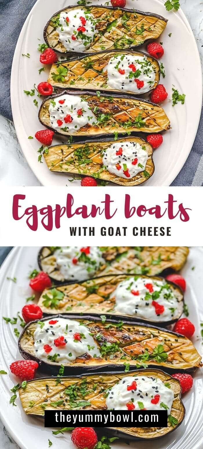 Oven-Roasted Eggplant boats loaded with yogurt and goat cheese dressing and a bit of raspberry together create a delicious and delicate flavor that almost asking to be eaten immediately. Perfect for vegetarians! #vegetarianeggplantboats #eggplanthalves #roasteeggplant #eggplantboats #healthyeggplantboats #bakedeggplantboats